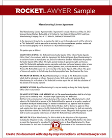 Manufacturing license agreement template rocket lawyer sample manufacturing license agreement platinumwayz