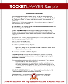 Attirant Sample Memorandum Of Agreement