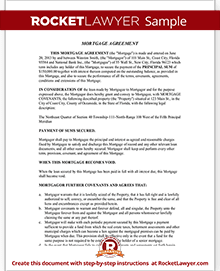 Sample Mortgage Agreement  Mortgage Note Template