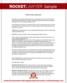 Music license agreement free music license agreement template sample music license agreement yadclub Choice Image