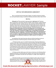 Great Sample Mutual Non Disclosure Agreement  Mutual Agreement Template