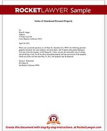 Ca Notice Of The Abandoned Personal Property