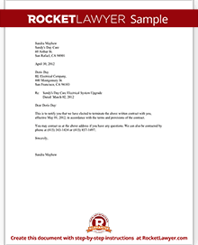 Elegant Sample Notice Of Contract Termination  Sample Contract Termination Letter