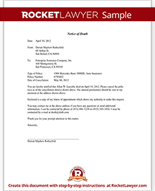 Notice of death to an insurance company letter template with sample sample notice of death to an insurance company expocarfo Image collections