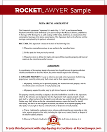 Sample Premarital Agreement
