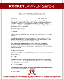 Promissory Note With Balloon Payment Template Form With Sample - Promissory note examples templates
