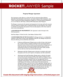 Sample Property Manager Agreement