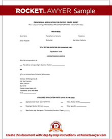 Provisional patent application form free template with for Utility patent application template