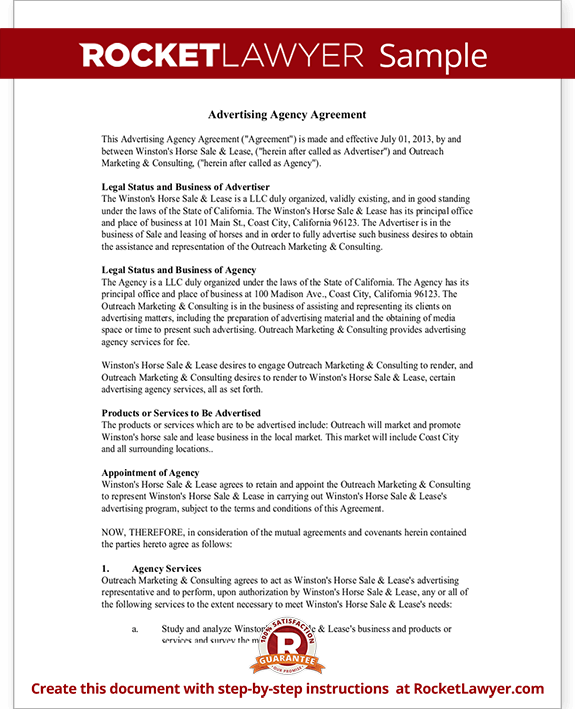 Advertising Agency Agreement Contract Sample Template
