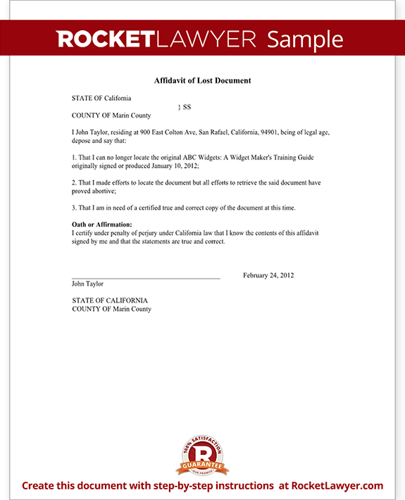 Affidavit Of Lost Document Sample Template