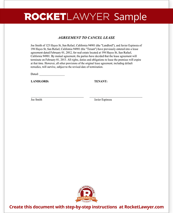 sample agreement to cancel lease form template test - Tenant Lease Form