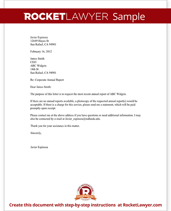 Annual Corporate Report Request Request for Annual Corporate