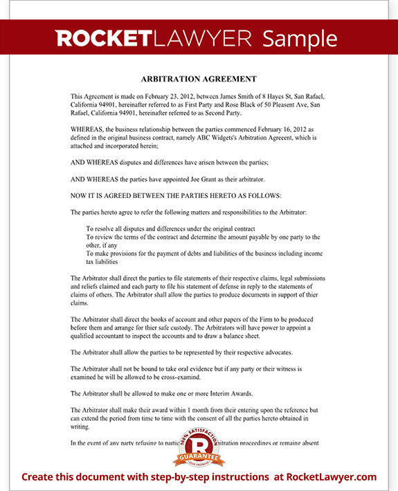 Arbitration Agreement Sample Rocket Lawyer