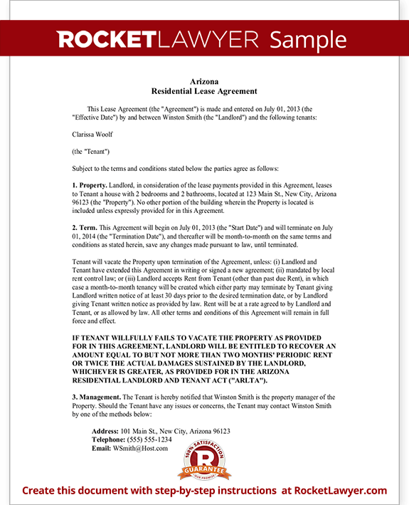Arizona Lease Agreement