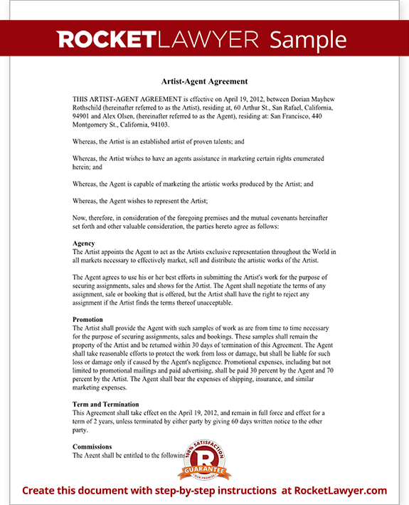 Artist Agent Agreement Form Artist Agency Agreement Sample