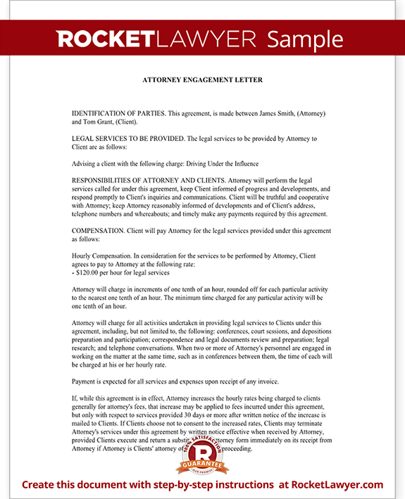 Attorney Engagement Letter For Law Firm Client Engagement Letter