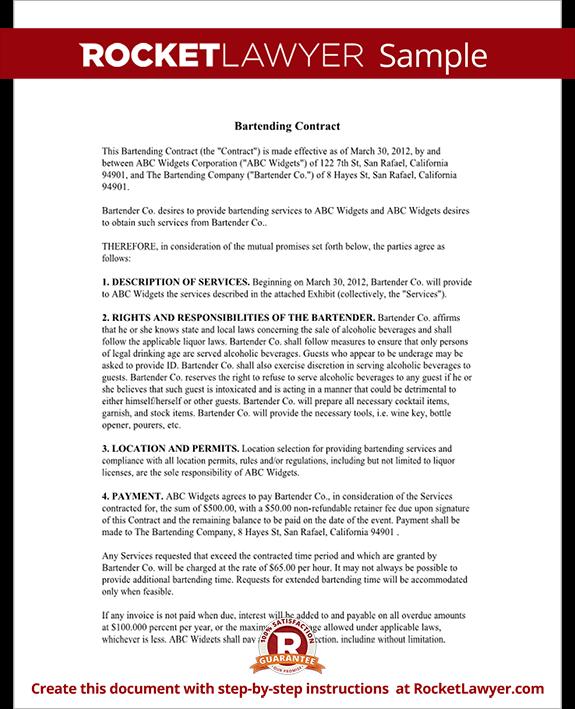 bartender contract form bartending agreement rocket lawyer