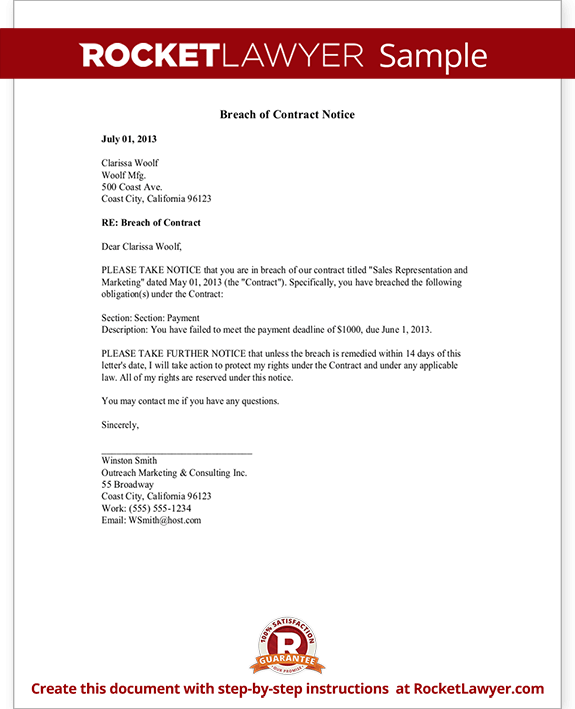 Breach Of Contract Notice Sample Letter Rocket Lawyer