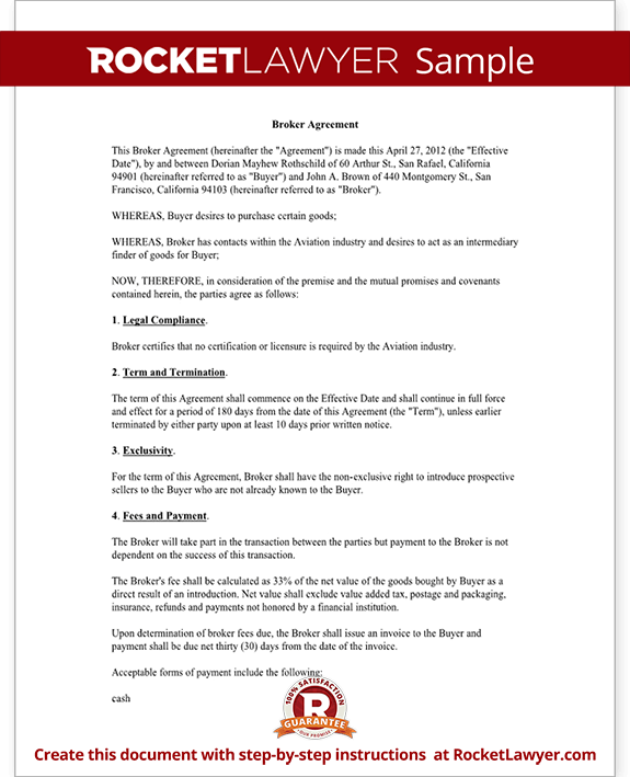 Sample Broker Agreement Form Template Test.