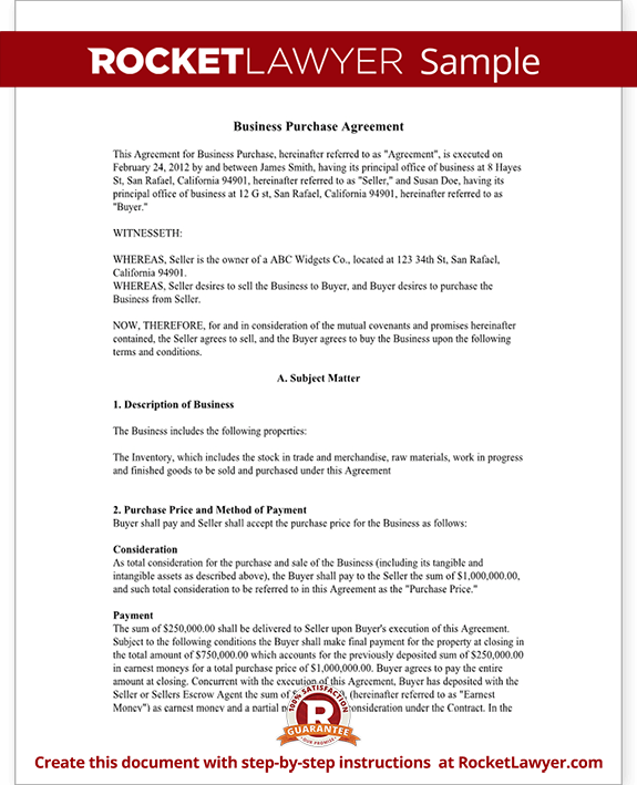 Business Purchase Agreement Contract Form with Template Sample