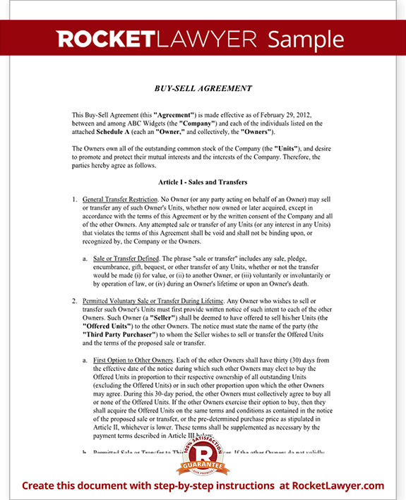 Buy Sell Agreement Template Buyout Agreement Rocket Lawyer