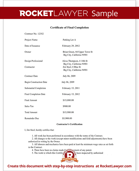 Certificate Of Final Completion Form For Construction Project