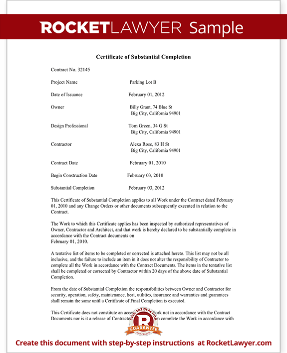 Certificate of substantial completion form rocket lawyer sample certificate of substantial completion form template test yelopaper Image collections