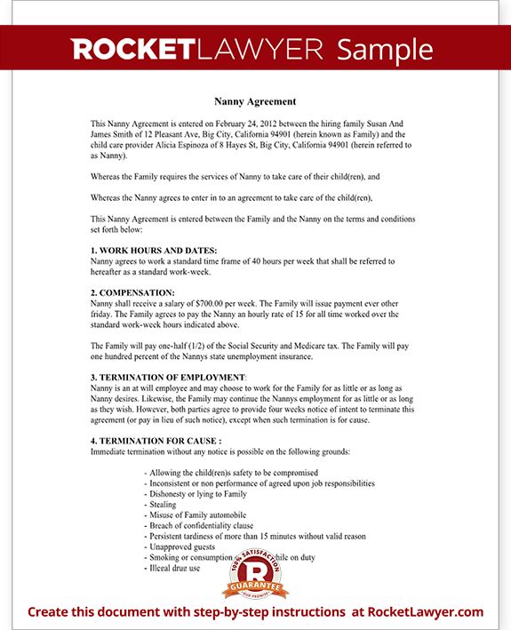 child care contract agreement form with sample