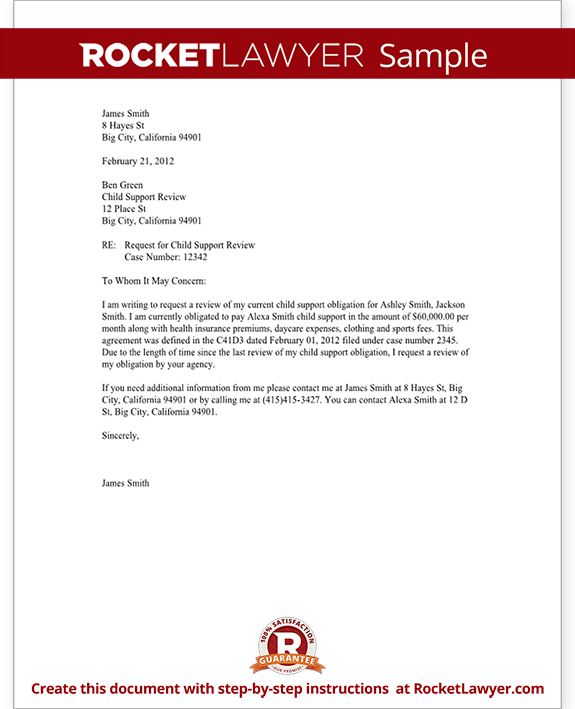 Awesome Sample Child Support Review Letter Form Template Test.