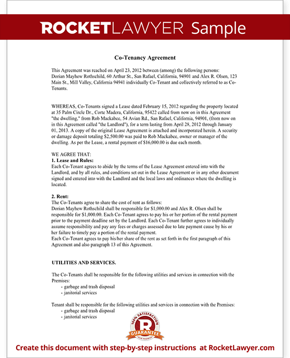 CoTenancy Agreement Form CoTenant Contract Sample – Landlord Agreement Template