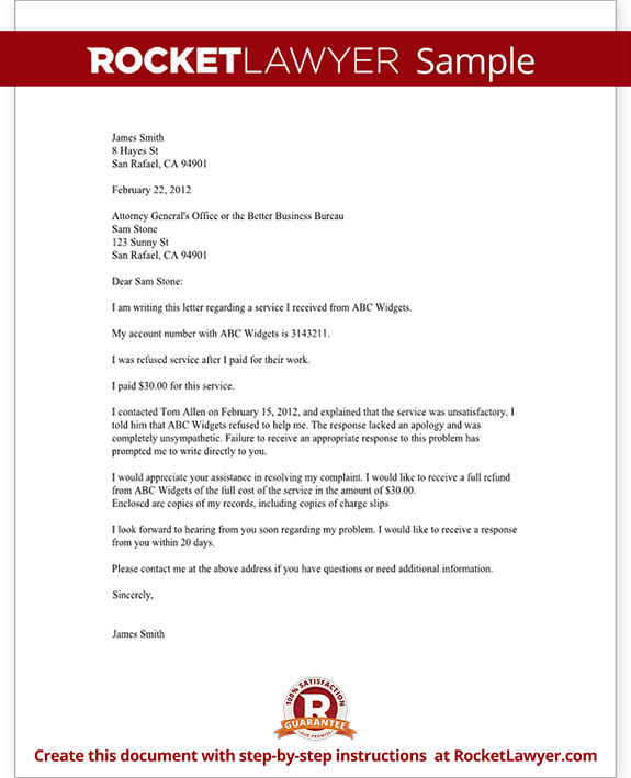 Complaint letter to a bbb or attorney general sample complaint letter to a bbb or attorney general form template test altavistaventures Image collections