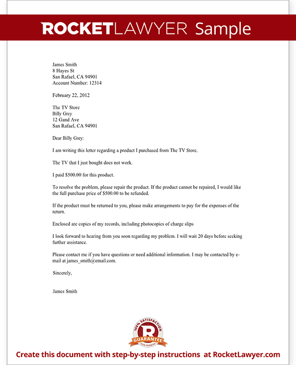 Complaint Letter to a Company Template with Sample