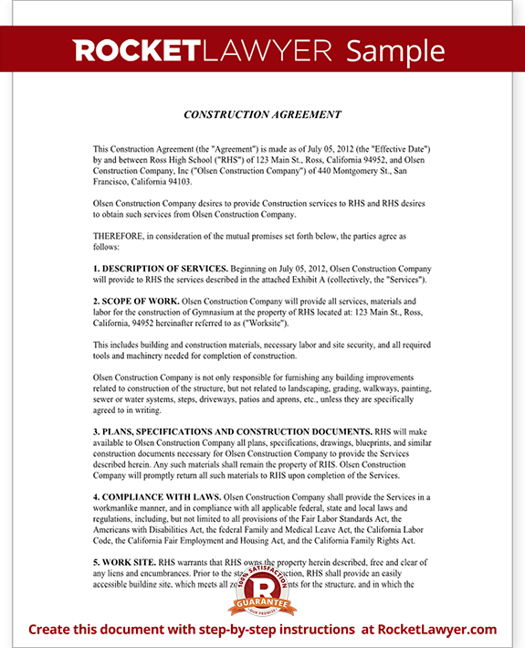 Construction Contractor Agreement | Construction Contract Template Construction Agreement Form