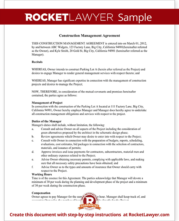 Construction management agreement contract form with sample sample construction management agreement form template test pronofoot35fo Image collections
