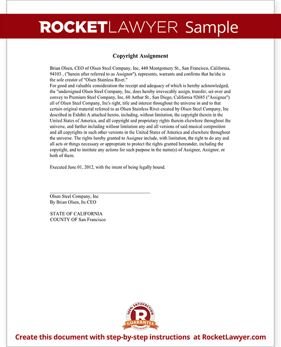 Copyright assignment agreement choice image agreement for Copyright template for book