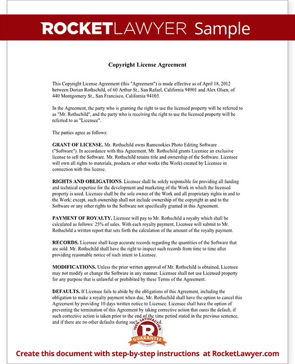 Copyright License Agreement - License Copyright Template