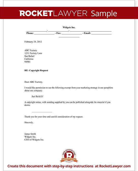 Copyright request letter form with sample sample copyright request form template test spiritdancerdesigns Choice Image