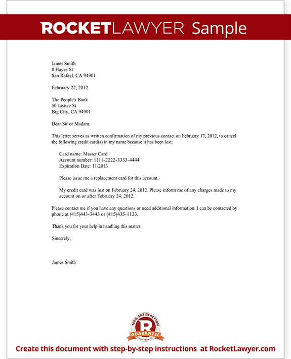 Credit Card Lost or Stolen Notice Letter (with Sample)