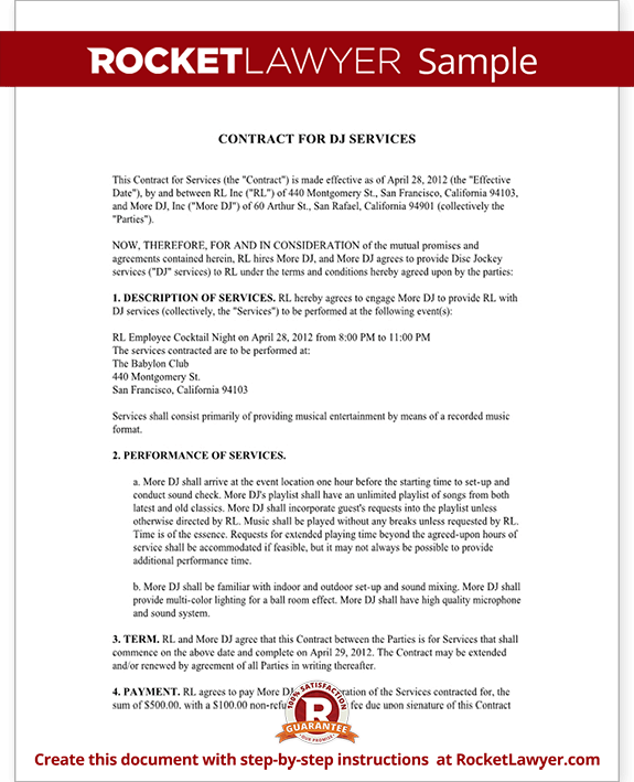 dj contract template sample dj contract rocket lawyer