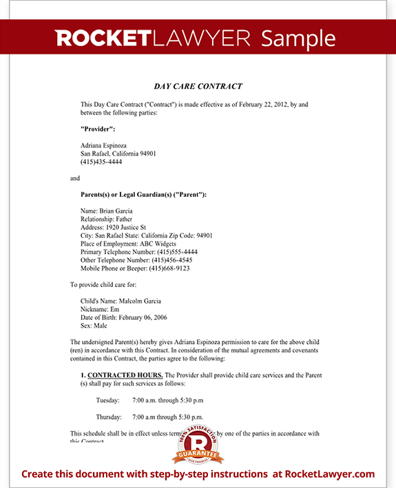 Sample Day Care Contract Form Template Test