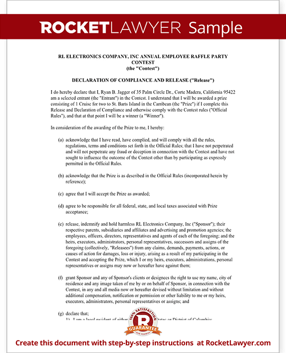 Declaration of Compliance and Release for Contest Rules