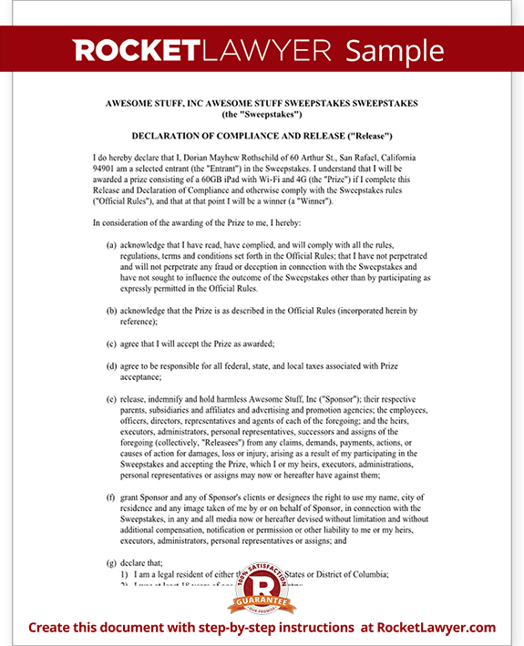 Declaration of Compliance and Release for Sweepstakes Rules