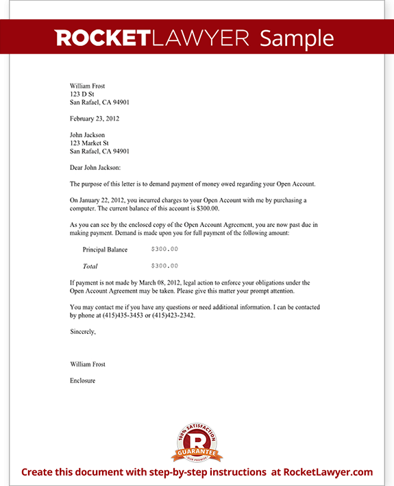 Demand Letter Template For Owed Money Claim Your Money Rocket Lawyer - Formal demand for payment letter template
