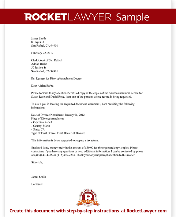 Divorce Records Request Letter (Template With Sample