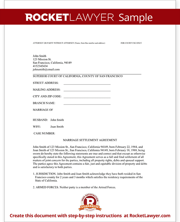 sample divorce settlement agreement form template test