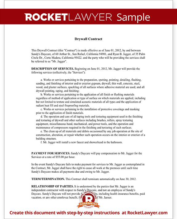 Sample Drywall Contract Form Template Test