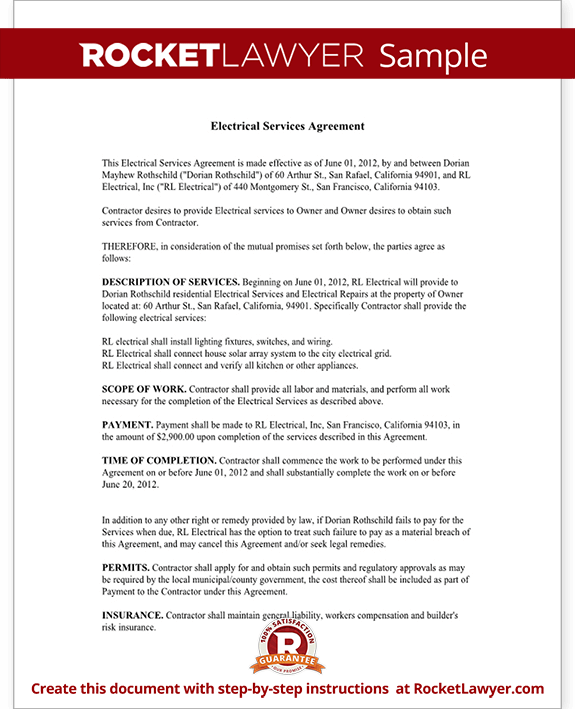 Sample Electrical Service Agreement Form Template Test.