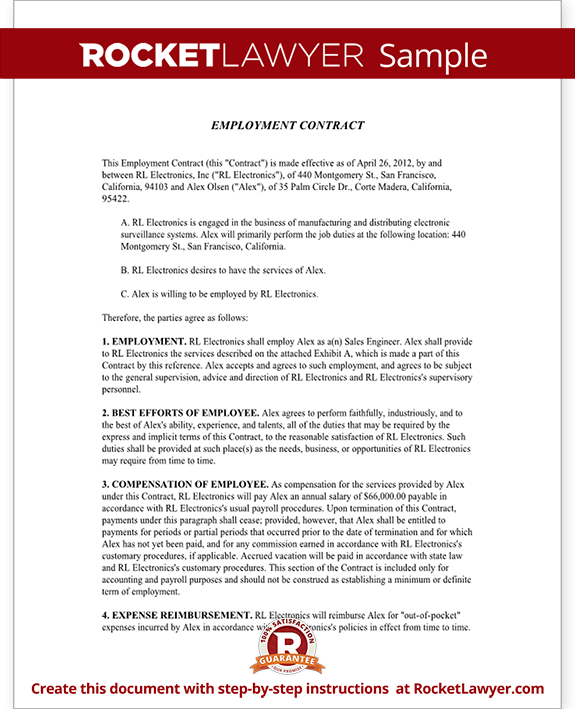 Employment Contract Template Employment Agreement Rocket Lawyer