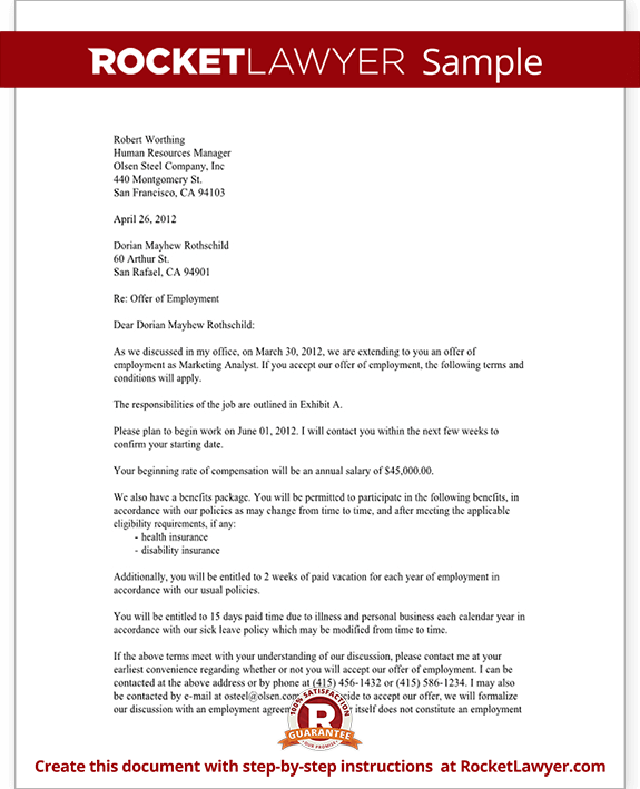 Job offer letter employment offer letter template with sample spiritdancerdesigns Images
