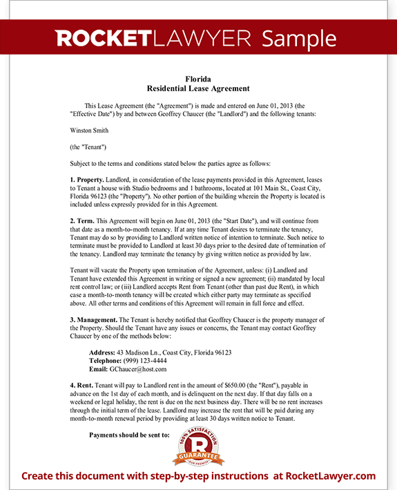Sample Florida Lease Agreement Form Template Test